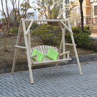 outdoor reclining wooden double swing chair