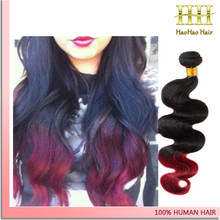Two tone hair extension hair weft full head 3 bundles red brazilian hair weave