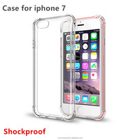 Rugged Heavy Duty Slim Gel TPU Bumper Shockproof Cover Crystal Clear Transparent Screen Protect Design for iphone 7