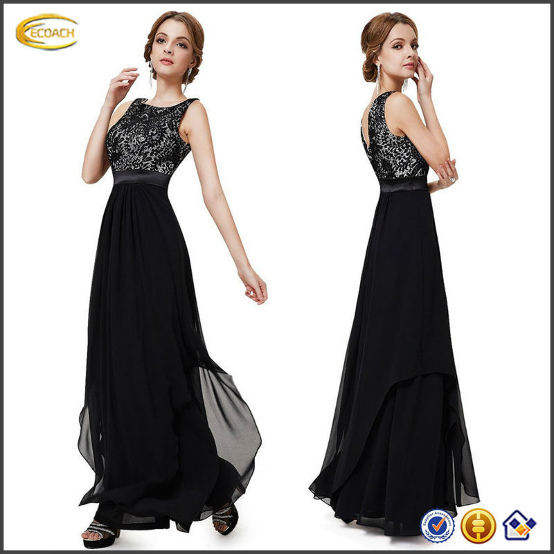 OEM wholesale Women Pretty Elegant Sleeveless Round Neck maxi floor length Evening Party middle aged women fashion dress
