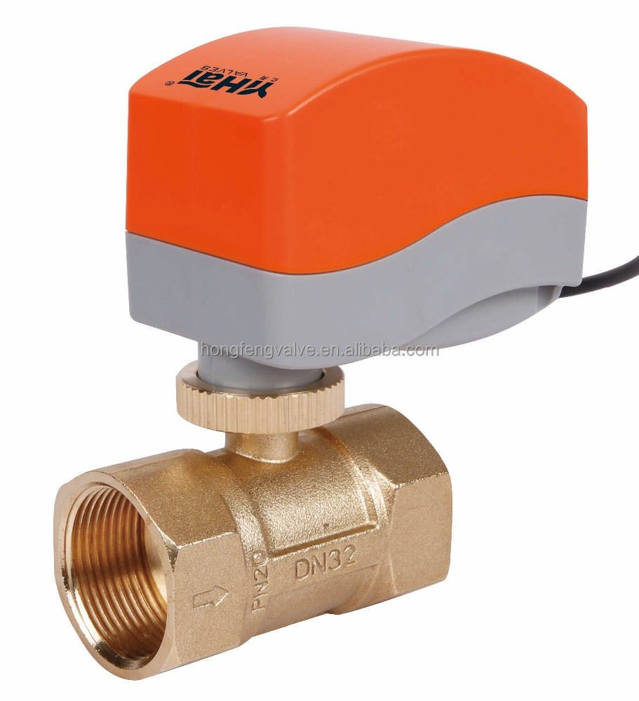 2 way 3 way HVAC electric brass ball valve with actuator 0-10v and 4-20ma