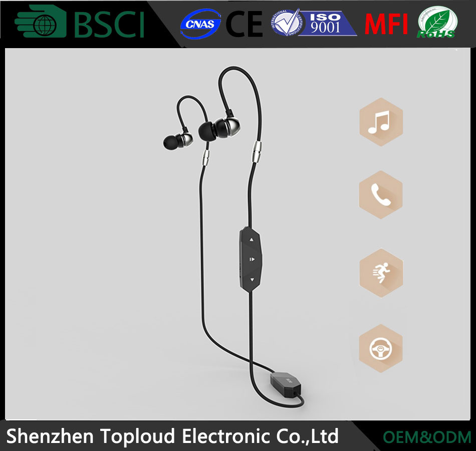 China shenzhen factory oem with mic ear hook for phone branded handsfree subwoofer neck strap big bass inear earphone