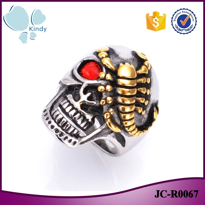Kindy Jewelry JC-R0067 316l stainless steel mens ruby eyes gold color scorpion skull ring
