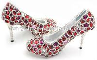 BS110 handmade super quality fully red crystals bridal wedding shoes diamond shoes
