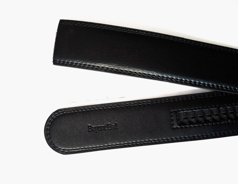 Black Classical Real Leather Ratchet Belt with Gold Slide Buckle