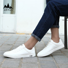 Casual Lace Up Leather Casual Shoes Cow Leather Shoes For Men White Shoes