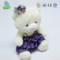 Factory wholesale white stuffed plush bear toy soft teddies with dress