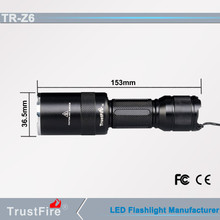 waterproof lamp IPX4 TrustFire Z6 zoom police led flashlight, shock resist zoomable Led flashlight
