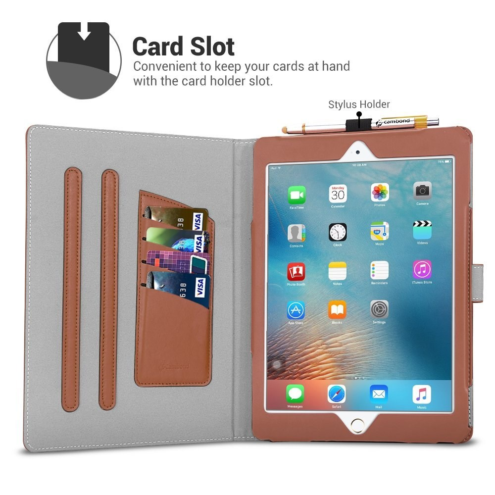 Smart Stand Case For iPad Air 2 with Card Slots and Stylus Holder Protective Premium PU Leather Cover Case for Apple iPad Air 2