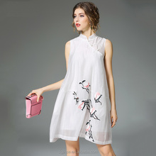 The new design summer fashion chinese style cheongsam qipao embroidery pendulum elegant chiffon casual dresses for women