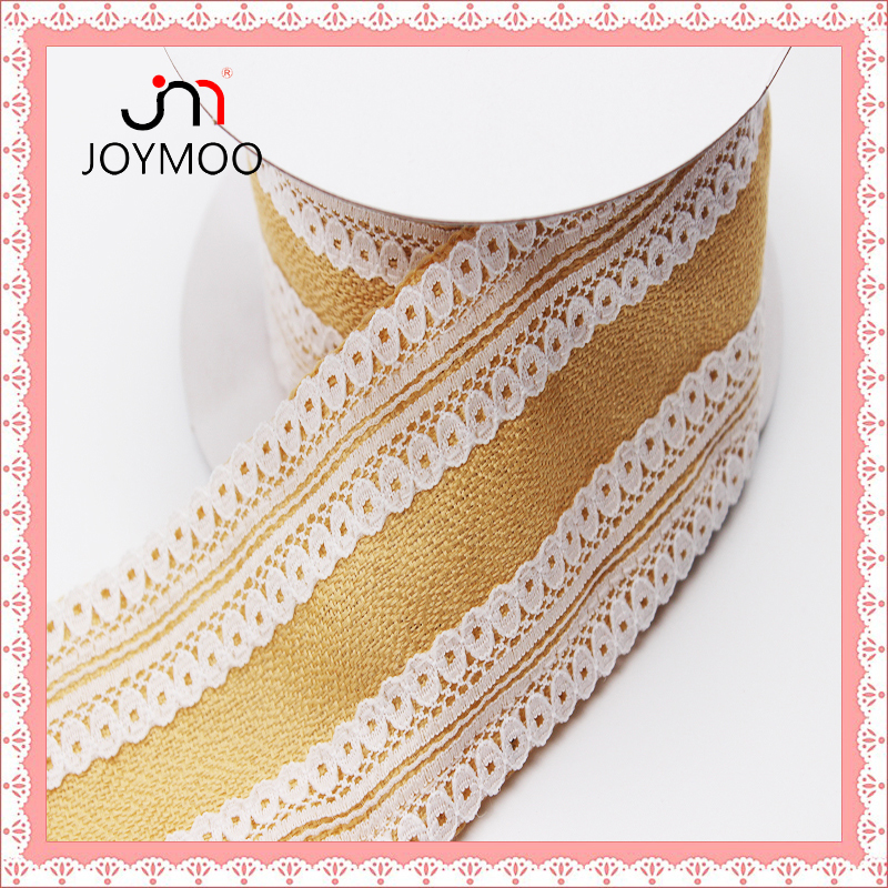 Factory Outlet Cream Linen-Like Fabric Lace Trim Guipure Chemical Linen Lace Trim Cotton Embroidery Edging Linen-Like Lace Trim
