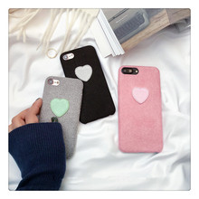 Knitting Wool Love Heart Microfiber Flannelette Mobile Phone Case for iPhone 7 7 Plus