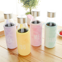 Empty drinking water glass bottles 350 ml water bottle with heat resistant sleeve