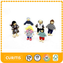 hotsale educational 6pcs/set Kindergarten kid 8cm height toy puppet Family play Games wooden chinese lucky dolls cute boys doll