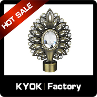 Factory price 16/19mm new designs diamond curtain finial, crystal cup fancy curtain rod end cap, aluminum curtain pole accessory
