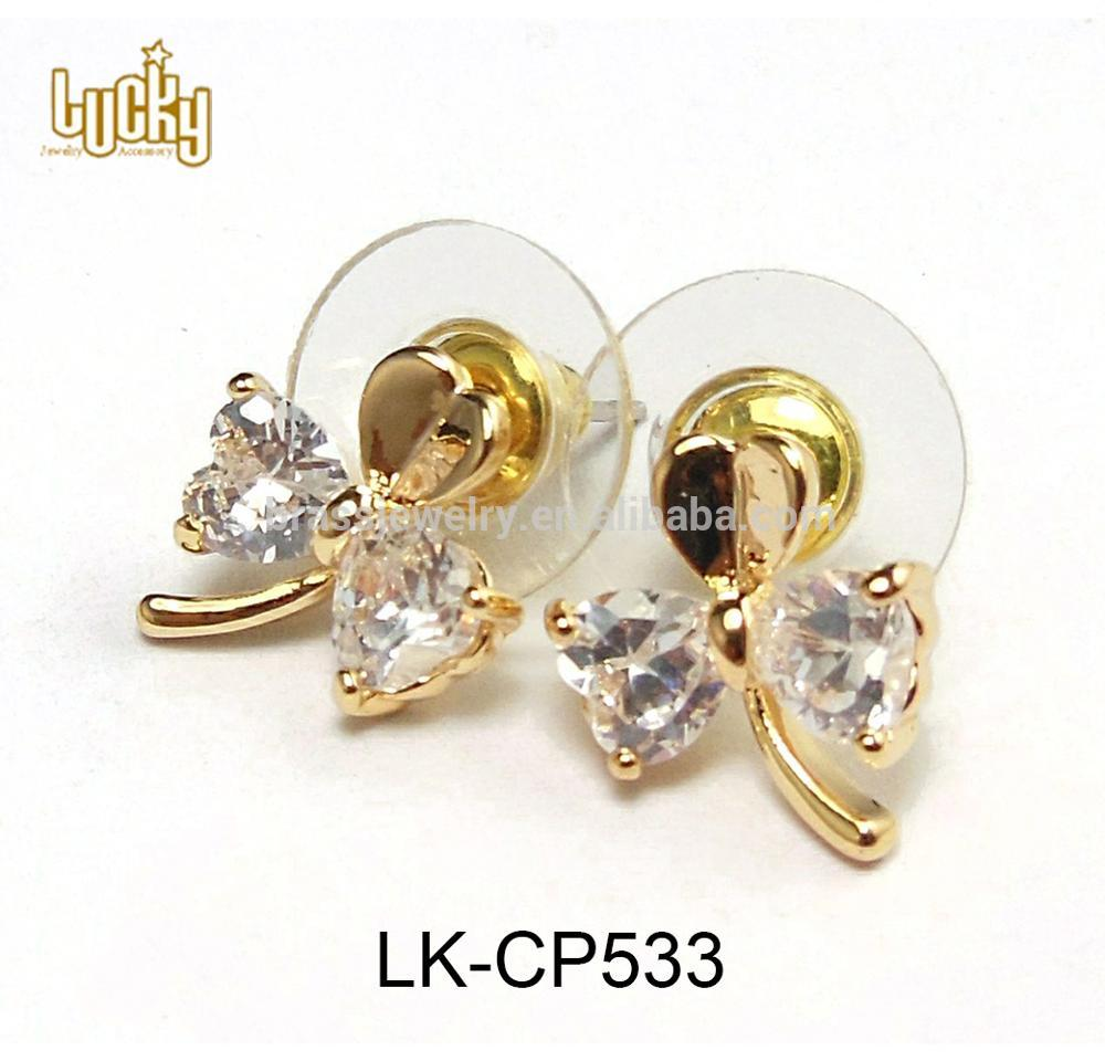 2017 fashionable jewelry popular designs gold hypo allergenic new style stud earrings with pads