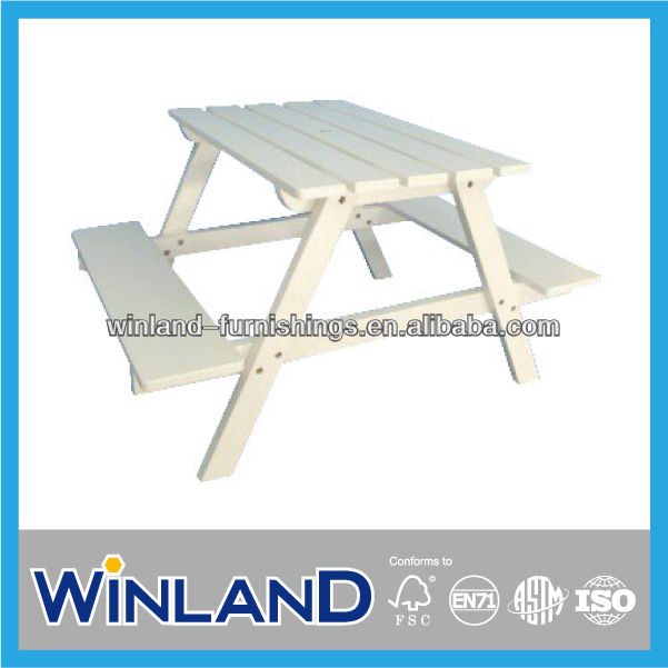 Kids Wooden Classic White Picnic Table And Chair