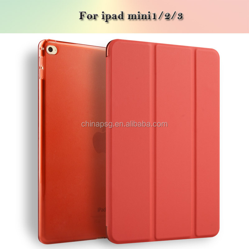 Case for iPad MINI 2 3 Color PU Transparent Back Ultra Slim Light Weight Trifold Smart Cover Case for ipad MINI 2 case