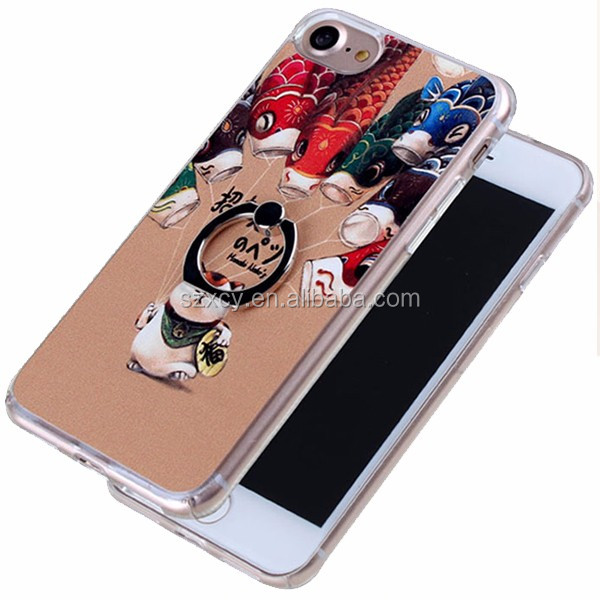 2016 most popular ladies gold finger ring stand hard PC phone case for iphone 7 4.7