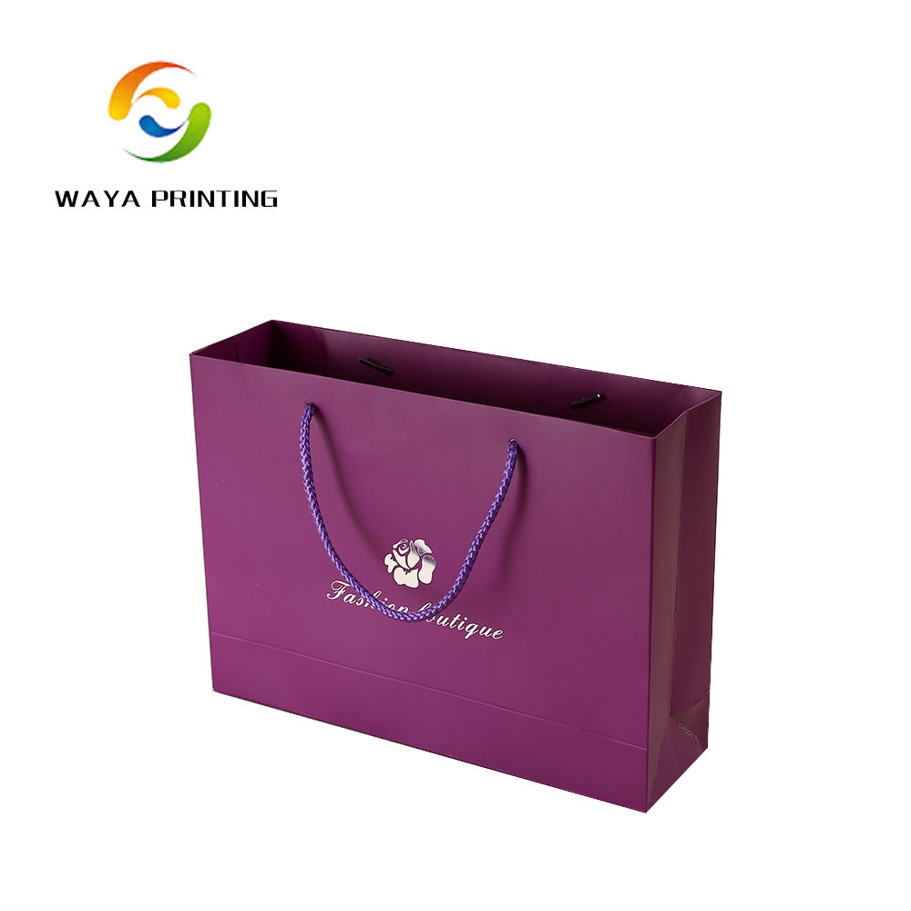 High Quality purple luxury paper shopping bag