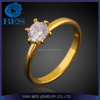 18K Gold Plated Six Claw CZ Cut 1 Carat 6mm Wedding Ring Crystal Gift