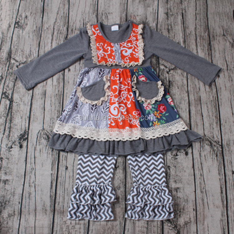 Lovely Girls Cotton Clothing Sets matching cloth and pockets wholesale clothing from china free shipping