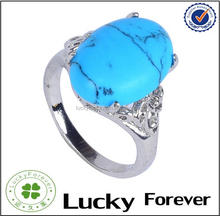 Special fashion stainless steel Blue stone turquoise big ring