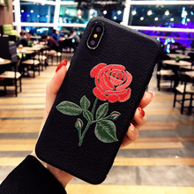 For iphone x embroidery case,handmade embroidery 3D roses retro relievo flowers soft shell for girls