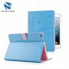 attractive Kitty pattern foldable stand smart wake tablet case for iPad mini 4