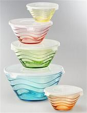 5pcs colorful glass lunch box food bowl set container GB1408B-P