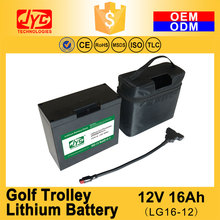 12V 16Ah Cycle Life >2000 cycles With T-Bar Connector and Bag and Charger for LiFePO4 Electric Golf Trolley Lithium Battery