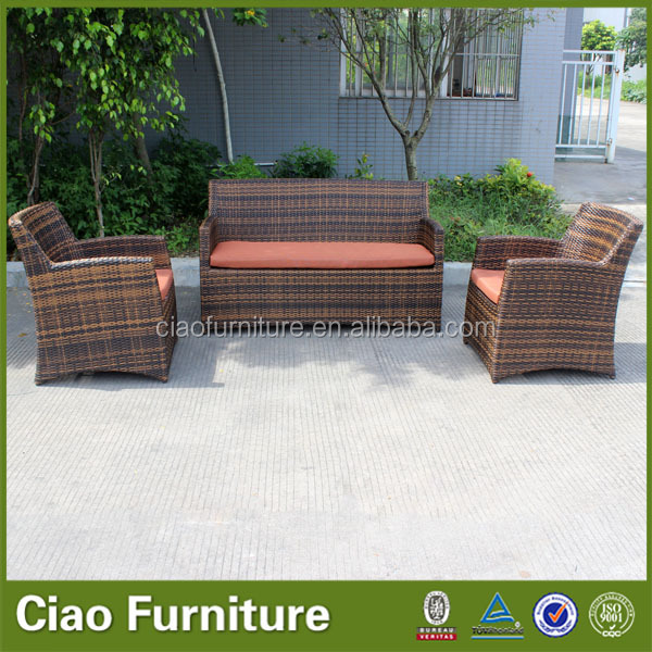 Modern outdoor flat rattan sofa set with cushion