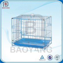 Wire pet cage with removable plastic tray