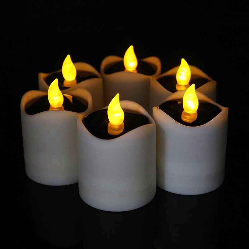 Plastic Material battery operate yellow electric flicker led tealight candle