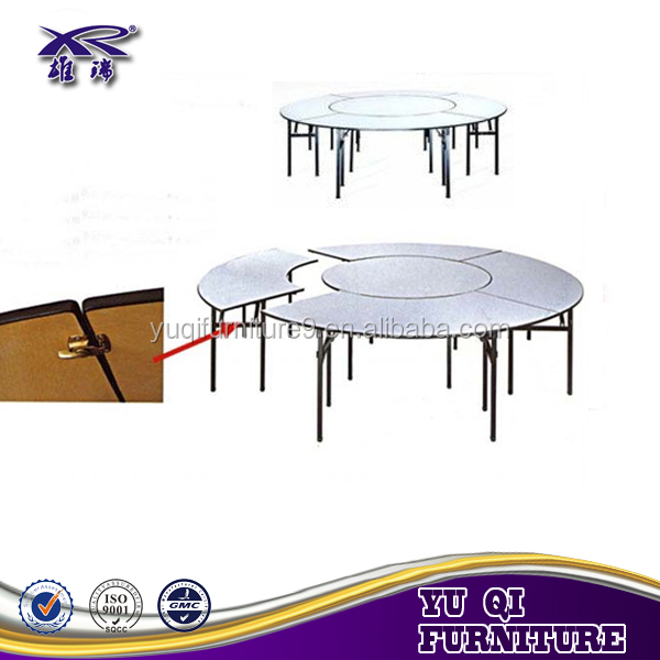 Round Plywood Pvc Coated Hotel Dining Foldable Table