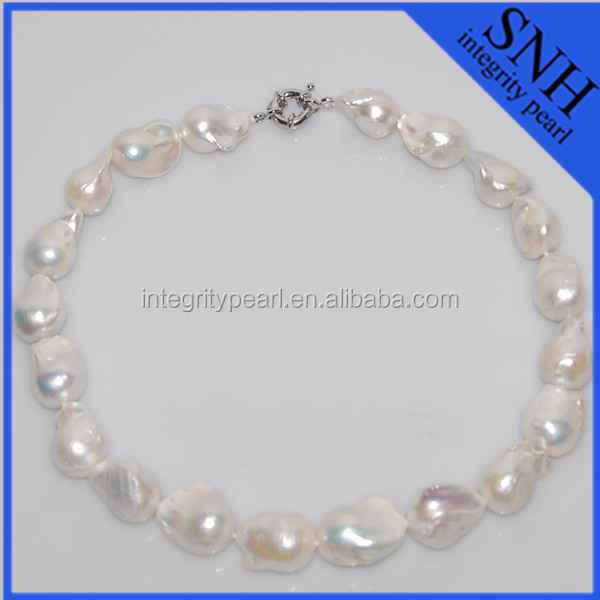 Baroque single pearl necklace and 925 silver clasp wholesale