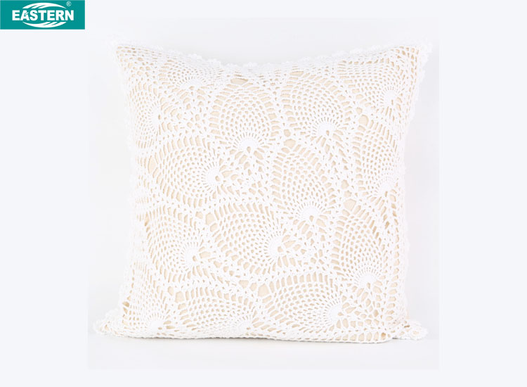 White and beige match Crochet hook pillow case standard size pillow