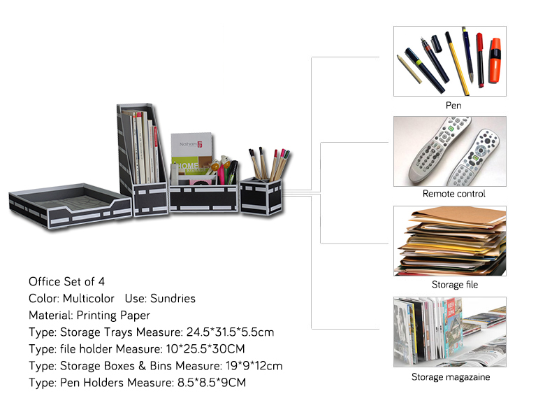 NAHAM Office Desk Cardboard A4 Paper Document File Tray
