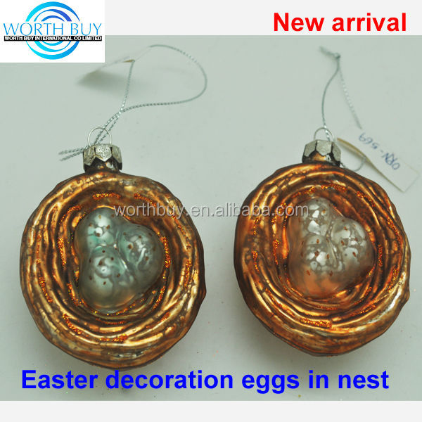 Fake easter decoration egg in nest, 2 colors