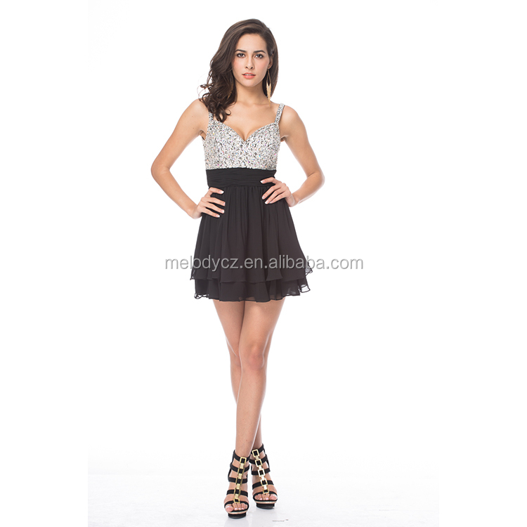 Sexy ladies breast full beaded spaghetti strap ruched dress backless cocktail party wear