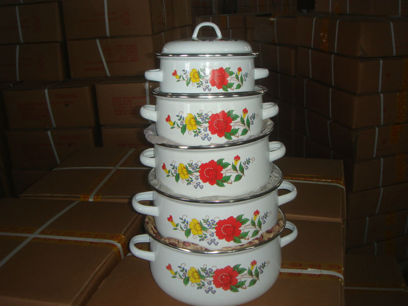 Steel enamel casserole set, enamel cook pot