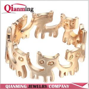 New Fashion Girl Connect Cat Ring Animal Women Ring Crystal Cute Wrap Adjustable Ring