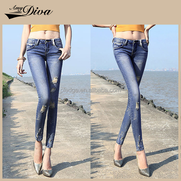 New model jeans pent latest design girls top cheap price skinny stretch blue jeans women