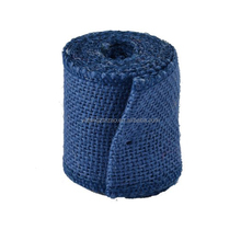 Printing Dark Blue burlap rolls Colorful Jute Fabric Roll For Wedding Decoration