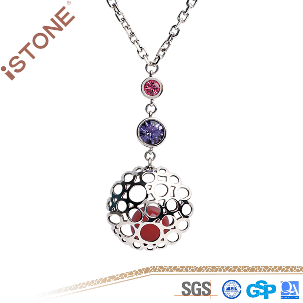Istone Fashion Jewelry Red Agate Necklace Trendy Natural Stone Pendant For Women