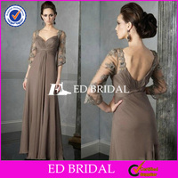 Custom Made Imperial Half Sleeve Long Brown Mother Of The Bride Dresses