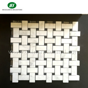 Wholesale Carrara White Marble Basket Weave Pattern Mosaic Marble Tiles