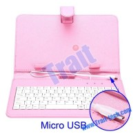 High Quality 7 Inch Leather Case Keyboard for Tablet PC with Micro USB