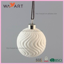 BSCI Certificate Fancy White Ball Ceramic Christmas Ball Ornament