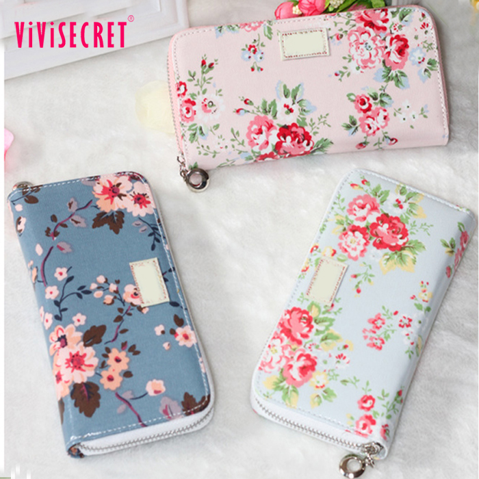 New model lady travel stylish girl youth wallets fashion wholesale flower printing womens trendy wallets